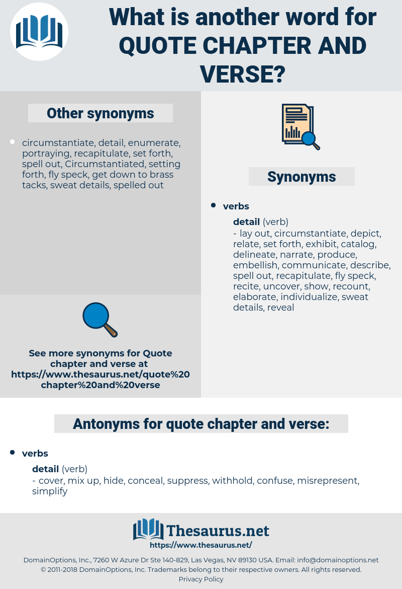quote chapter and verse, synonym quote chapter and verse, another word for quote chapter and verse, words like quote chapter and verse, thesaurus quote chapter and verse