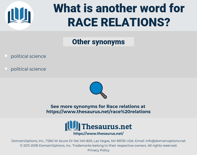 Race Relations, synonym Race Relations, another word for Race Relations, words like Race Relations, thesaurus Race Relations