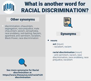 racial discrimination, synonym racial discrimination, another word for racial discrimination, words like racial discrimination, thesaurus racial discrimination