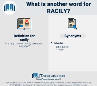 racily, synonym racily, another word for racily, words like racily, thesaurus racily