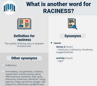 raciness, synonym raciness, another word for raciness, words like raciness, thesaurus raciness