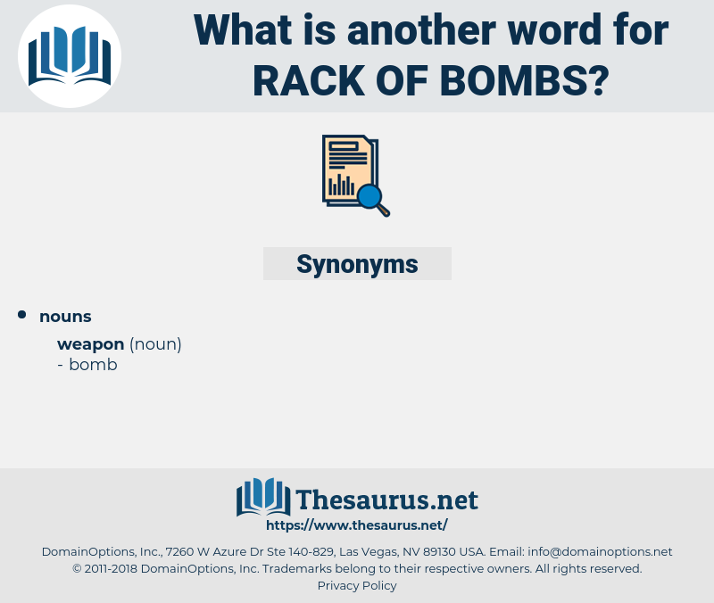 rack of bombs, synonym rack of bombs, another word for rack of bombs, words like rack of bombs, thesaurus rack of bombs