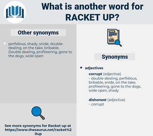 racket up, synonym racket up, another word for racket up, words like racket up, thesaurus racket up