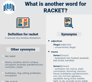 racket, synonym racket, another word for racket, words like racket, thesaurus racket