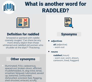 raddled, synonym raddled, another word for raddled, words like raddled, thesaurus raddled