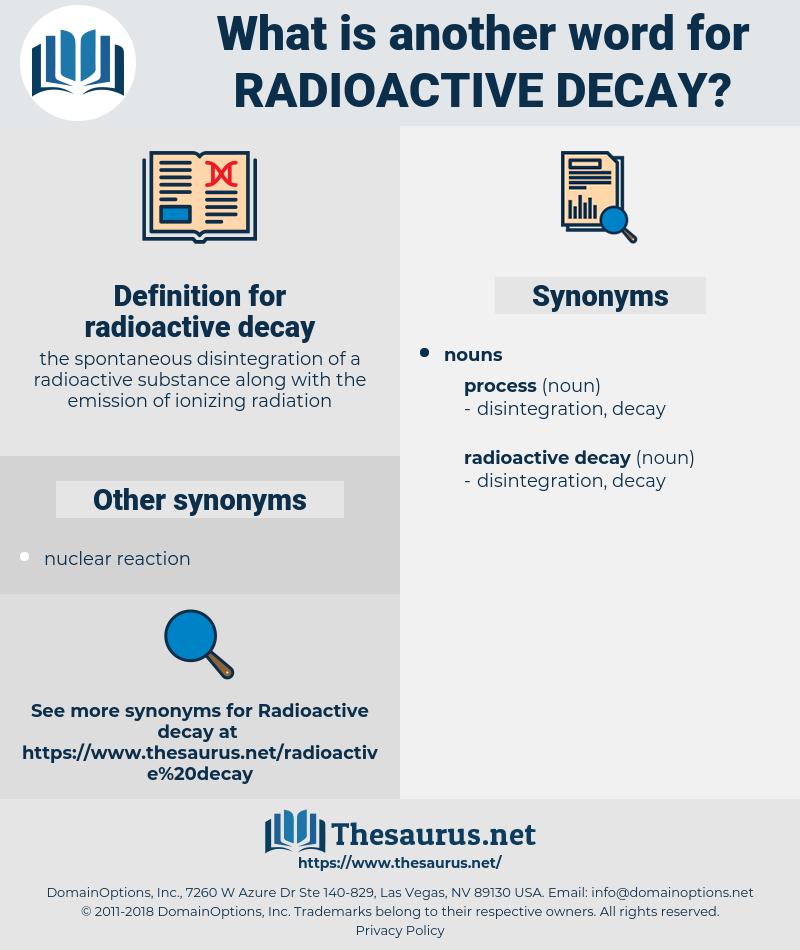 radioactive decay, synonym radioactive decay, another word for radioactive decay, words like radioactive decay, thesaurus radioactive decay