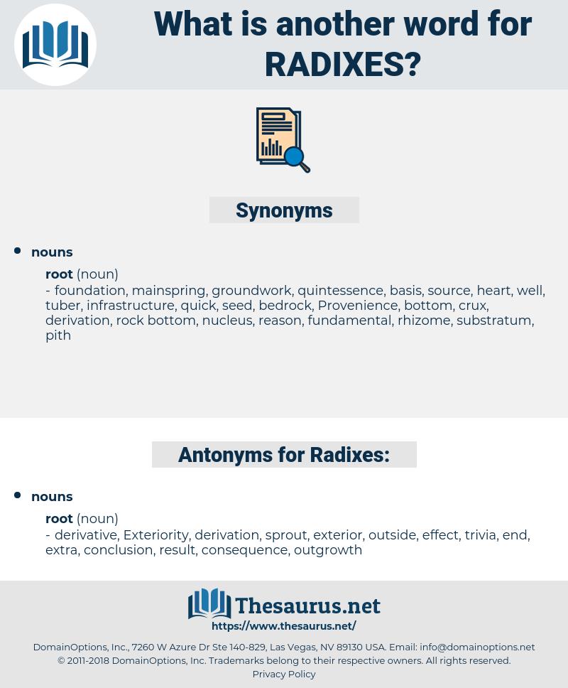 Radixes, synonym Radixes, another word for Radixes, words like Radixes, thesaurus Radixes