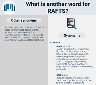 rafts, synonym rafts, another word for rafts, words like rafts, thesaurus rafts
