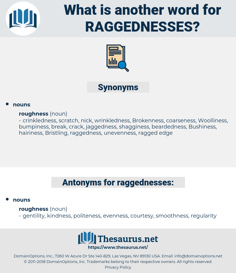 raggednesses, synonym raggednesses, another word for raggednesses, words like raggednesses, thesaurus raggednesses