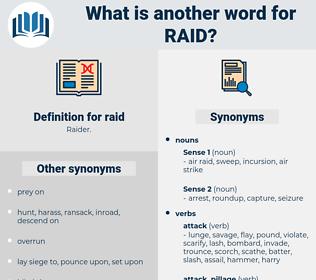 raid, synonym raid, another word for raid, words like raid, thesaurus raid
