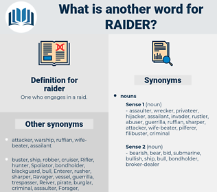 raider, synonym raider, another word for raider, words like raider, thesaurus raider