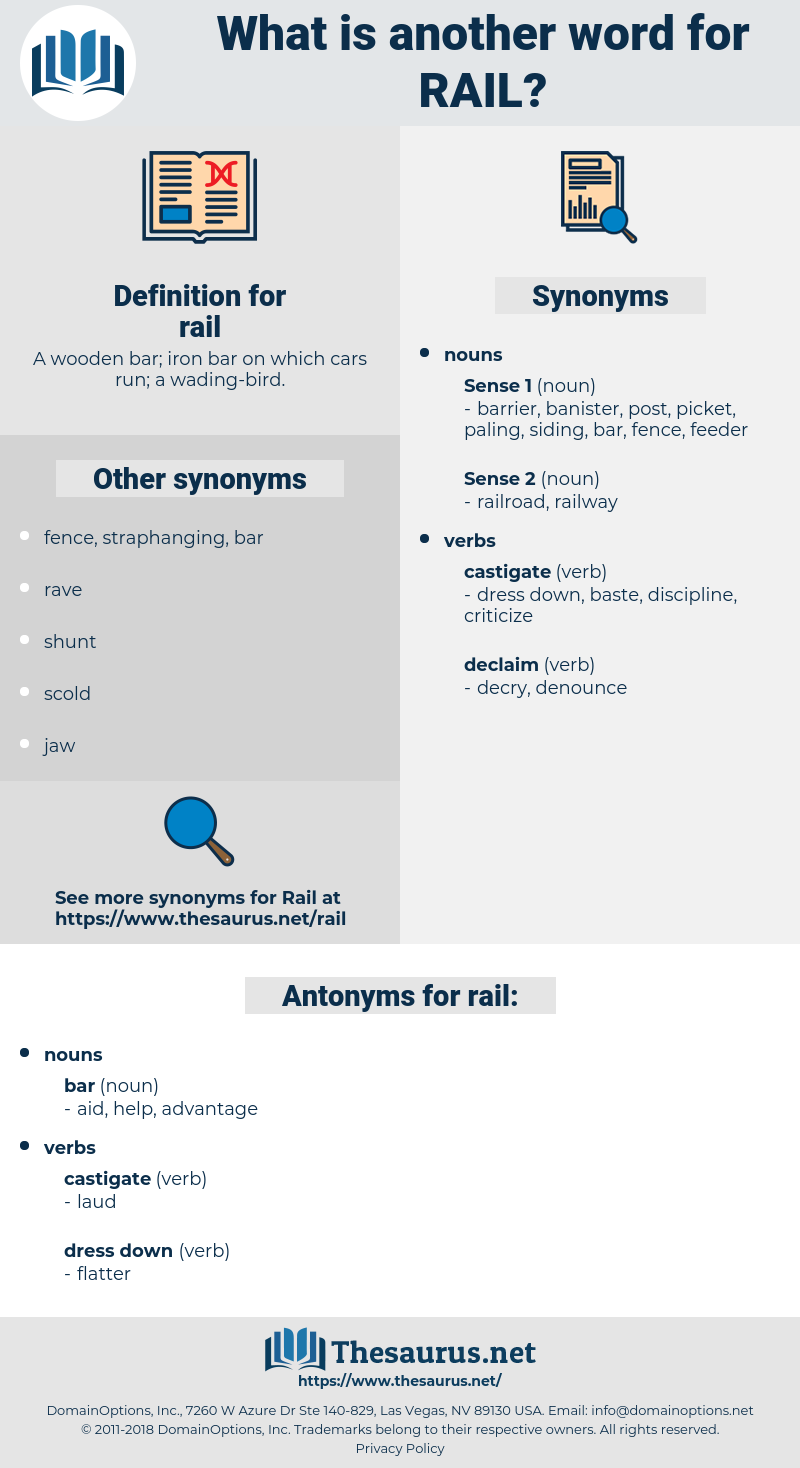 rail, synonym rail, another word for rail, words like rail, thesaurus rail