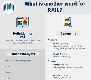 rail, synonym rail, another word for rail, words like rail, thesaurus rail