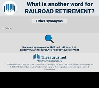 RAILROAD RETIREMENT, synonym RAILROAD RETIREMENT, another word for RAILROAD RETIREMENT, words like RAILROAD RETIREMENT, thesaurus RAILROAD RETIREMENT