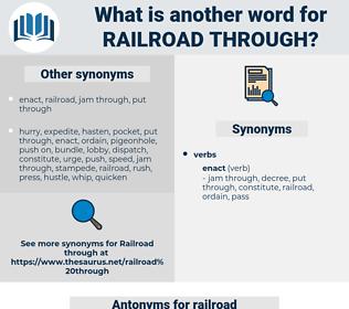 railroad through, synonym railroad through, another word for railroad through, words like railroad through, thesaurus railroad through