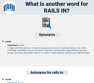 rails in, synonym rails in, another word for rails in, words like rails in, thesaurus rails in