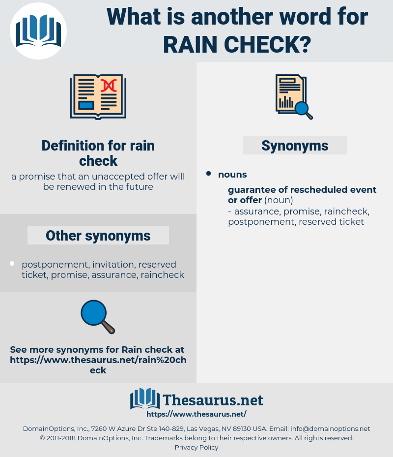 rain check, synonym rain check, another word for rain check, words like rain check, thesaurus rain check