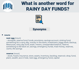 rainy day funds, synonym rainy day funds, another word for rainy day funds, words like rainy day funds, thesaurus rainy day funds