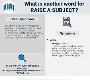 raise a subject, synonym raise a subject, another word for raise a subject, words like raise a subject, thesaurus raise a subject