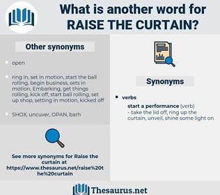raise the curtain, synonym raise the curtain, another word for raise the curtain, words like raise the curtain, thesaurus raise the curtain
