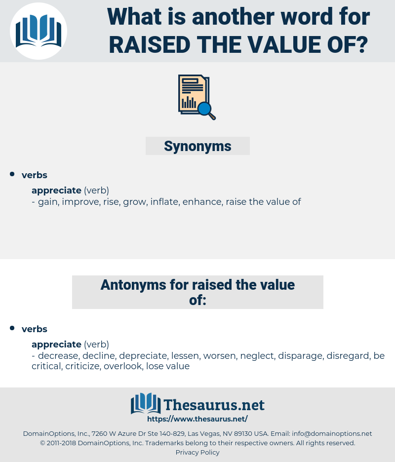 raised the value of, synonym raised the value of, another word for raised the value of, words like raised the value of, thesaurus raised the value of