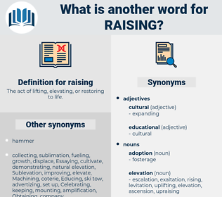 raising, synonym raising, another word for raising, words like raising, thesaurus raising