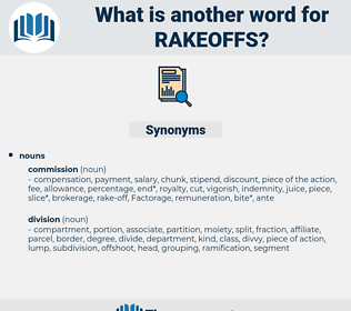 rakeoffs, synonym rakeoffs, another word for rakeoffs, words like rakeoffs, thesaurus rakeoffs