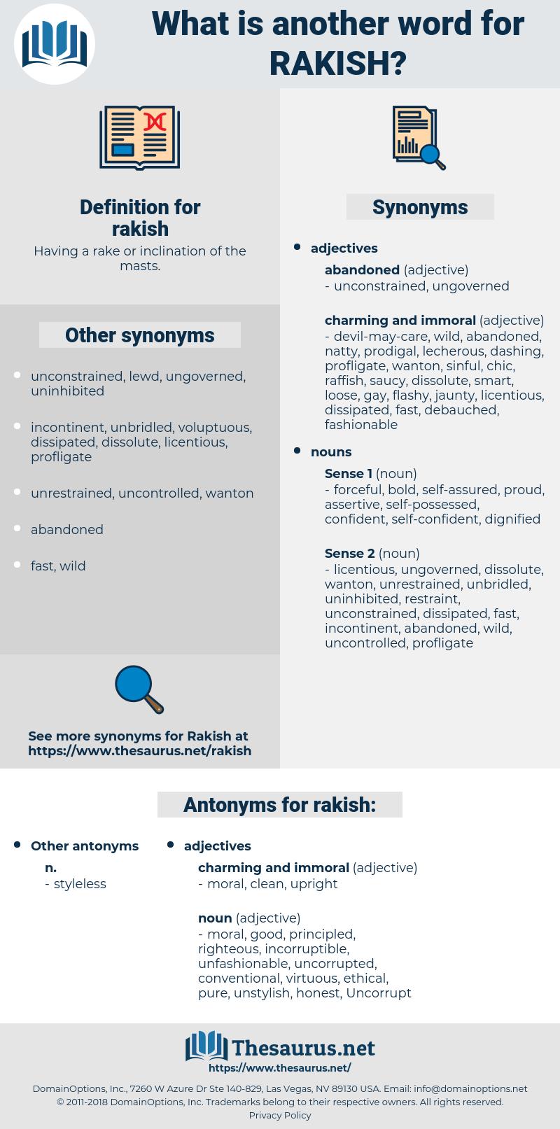 rakish, synonym rakish, another word for rakish, words like rakish, thesaurus rakish