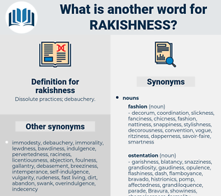rakishness, synonym rakishness, another word for rakishness, words like rakishness, thesaurus rakishness