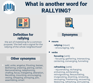 rallying, synonym rallying, another word for rallying, words like rallying, thesaurus rallying