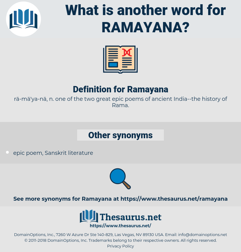 Ramayana, synonym Ramayana, another word for Ramayana, words like Ramayana, thesaurus Ramayana