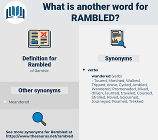 Rambled, synonym Rambled, another word for Rambled, words like Rambled, thesaurus Rambled