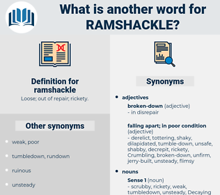 ramshackle, synonym ramshackle, another word for ramshackle, words like ramshackle, thesaurus ramshackle