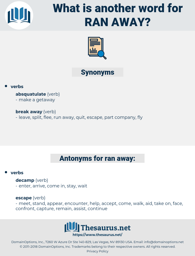 ran away, synonym ran away, another word for ran away, words like ran away, thesaurus ran away