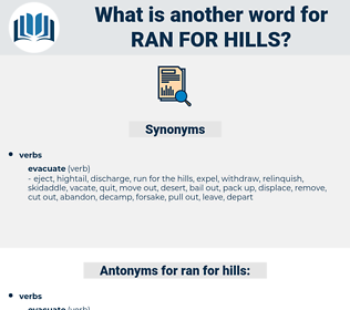 ran for hills, synonym ran for hills, another word for ran for hills, words like ran for hills, thesaurus ran for hills