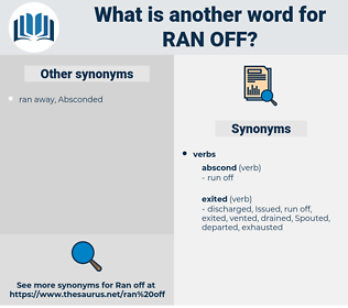 ran off, synonym ran off, another word for ran off, words like ran off, thesaurus ran off