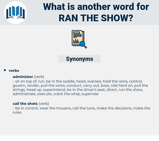 ran the show, synonym ran the show, another word for ran the show, words like ran the show, thesaurus ran the show
