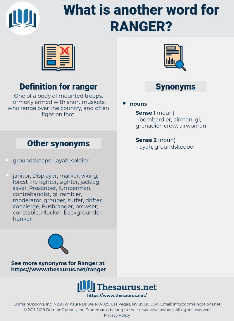 ranger, synonym ranger, another word for ranger, words like ranger, thesaurus ranger
