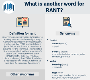 rant, synonym rant, another word for rant, words like rant, thesaurus rant