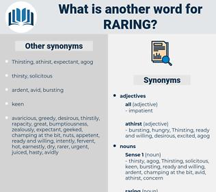 raring, synonym raring, another word for raring, words like raring, thesaurus raring