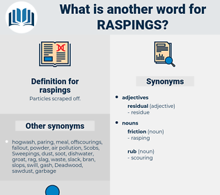 raspings, synonym raspings, another word for raspings, words like raspings, thesaurus raspings