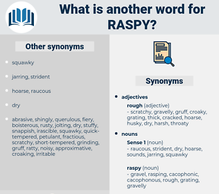 raspy, synonym raspy, another word for raspy, words like raspy, thesaurus raspy