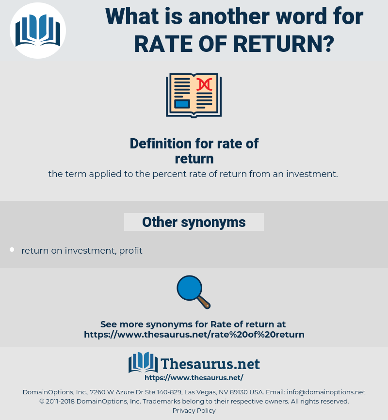 rate of return, synonym rate of return, another word for rate of return, words like rate of return, thesaurus rate of return