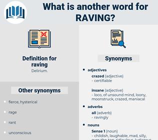 raving, synonym raving, another word for raving, words like raving, thesaurus raving