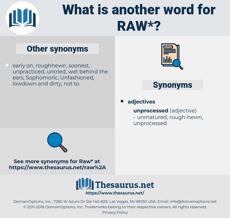 raw, synonym raw, another word for raw, words like raw, thesaurus raw