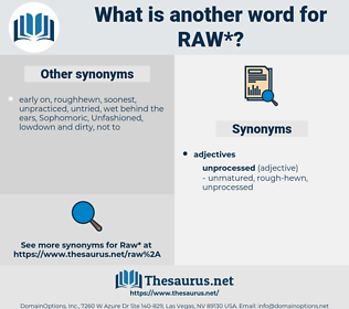 raw, synonym raw, another word for raw, words like raw, thesaurus raw