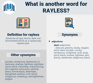 rayless, synonym rayless, another word for rayless, words like rayless, thesaurus rayless