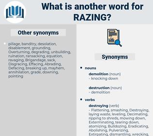 razing, synonym razing, another word for razing, words like razing, thesaurus razing