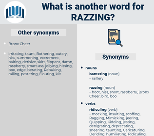 razzing, synonym razzing, another word for razzing, words like razzing, thesaurus razzing