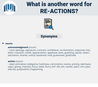 re-actions, synonym re-actions, another word for re-actions, words like re-actions, thesaurus re-actions